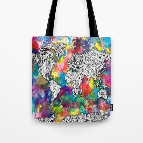 world map mandala colorful Tote Bag