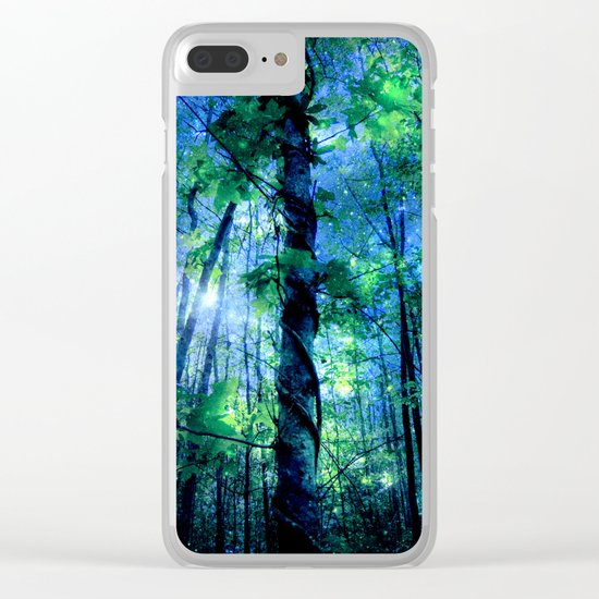 Forest of the Fairies Blue Night Clear iPhone Case