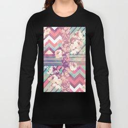 Retro Pink Turquoise Floral Stripe Chevron Pattern Long Sleeve T-shirt