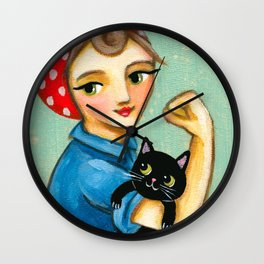 "Rosie the Riveter with Black Cat ""We can do it"" painting by Tascha Wall Clock"