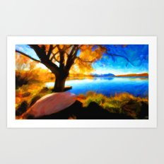 Peaceful Lake - Painting Style Art Print