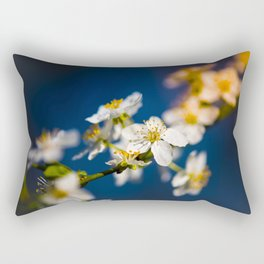 Beautiful White Jasmine Flowers With Green Leaves Against A Blue Background Rectangular Pillow
