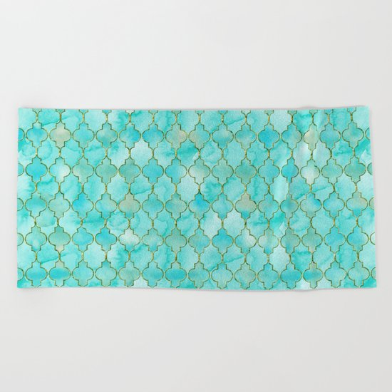 Luxury Aqua Teal and Gold oriental quatrefoil pattern Beach Towel