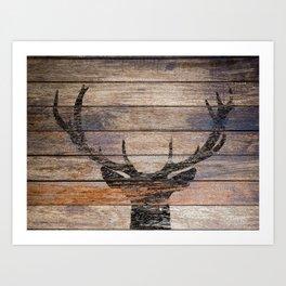 Rustic Black Deer Silhouette A311 Art Print