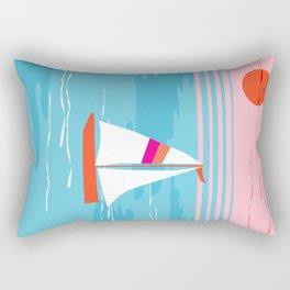 Mellow Out - memphis throwback retro classic neon yacht boating sailboat ocean sea 1980s 80s pop art Rectangular Pillow