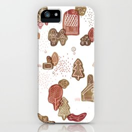 Hansel and Gretel Fairy Tale Gingerbread Pattern on White iPhone Case