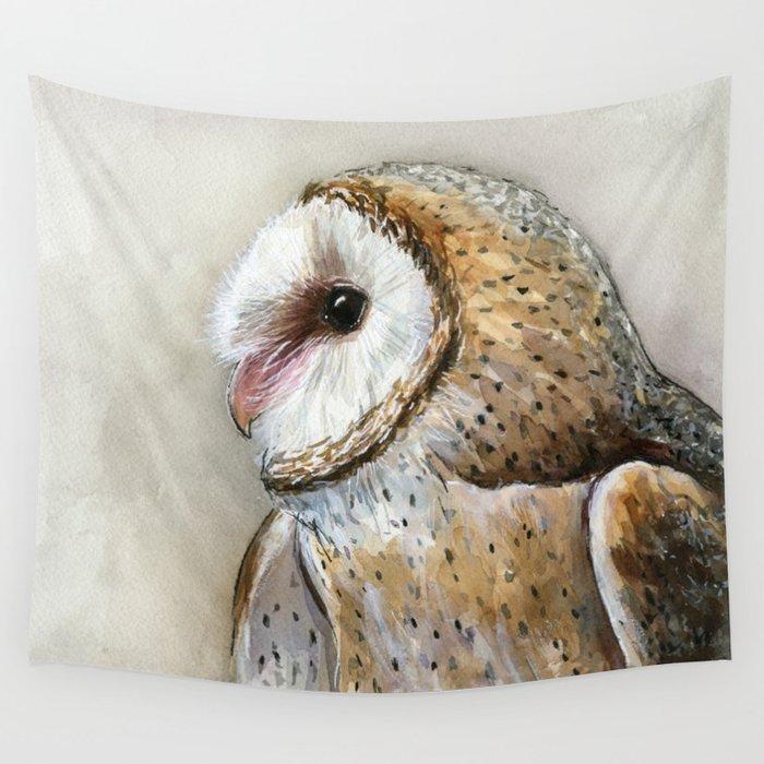 Barn Owl Watercolor, Birds Of Prey Wild Animals Owls Wall Tapestry
