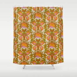 Orange, Pink Flowers and Green Leaves 1960s Retro Vintage Pattern Duschvorhang