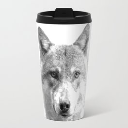 Black and White Wolf Travel Mug