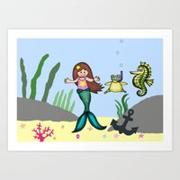 Star the Mermaid and Seahorse Art Print