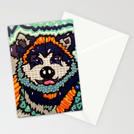 Larry Designer Dog Series Puppy Colorful Bright Huskey Eskimo Sleddog Siberian Chinook Breeds Stationery Cards