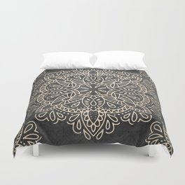 Mandala White Gold on Dark Gray Duvet Cover
