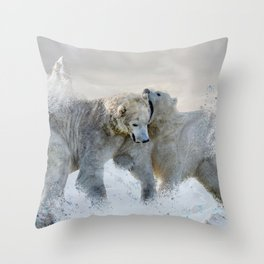 Polar Bear Mountains Throw Pillow