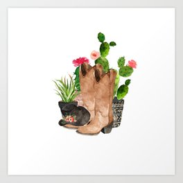 Boots and Cactus Art Print