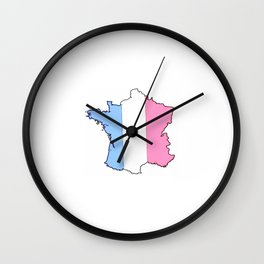 Parody of the french flag 4-France,Paris, pink, Marseille, lyon, Bordeaux,love, girly,fun,idyll,Nice Wall Clock