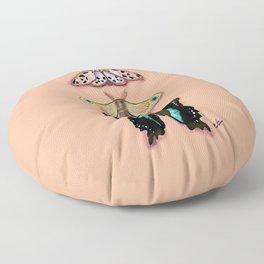 Butterflies Trio Magical Dots on Peach_modern digital painting Floor Pillow