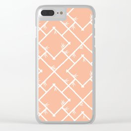 Bamboo Chinoiserie Lattice in Peach + White Clear iPhone Case