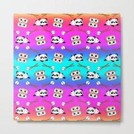 Cute funny Kawaii chibi little playful baby panda bears, happy cheerful sushi with shrimp on top, rice balls and chopsticks bright rainbow pattern design. Nursery decor. Metal Print