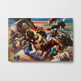 Classical Masterpiece 'WWII Depiction - Blood and Fire' by Thomas Hart Benton Metal Print