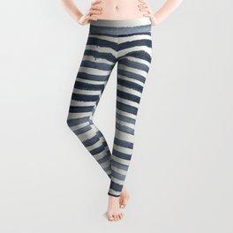 Simply Shibori Stripes Indigo Blue on Lunar Gray Leggings