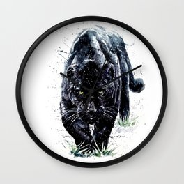 Watercolor Panther Wall Clock
