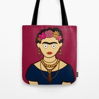 frida kahlo Tote Bags featuring Frida Kahlo by evannave