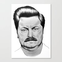 swanson Canvas Prints featuring Ron Swanson by 13 Styx