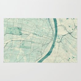 St. Louis Map Blue Vintage Rug