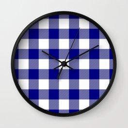 Gingham (Navy Blue/White) Wall Clock