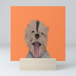 Luna The Yorkie With Her Tongue Hanging Out Mini Art Print