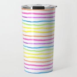 Bright Rainbow Stripes Travel Mug