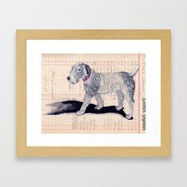 Vintage Celluloid Dog in Gouache Framed Art Print