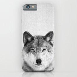 Wolf 2 - Black & White iPhone Case