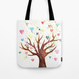Heart Tree Watercolor Illustration Tote Bag