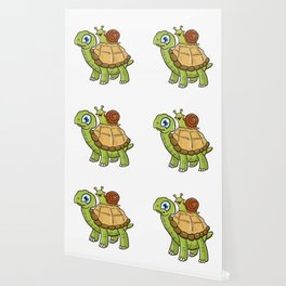Cute & Funny Snail Riding on Turtle Yelling Wheee! Wallpaper