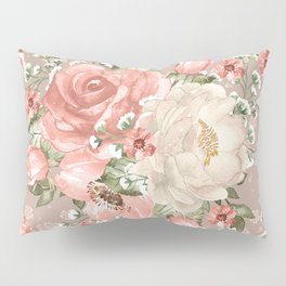Peach Blush Vintage Watercolor Floral Pattern Pillow Sham