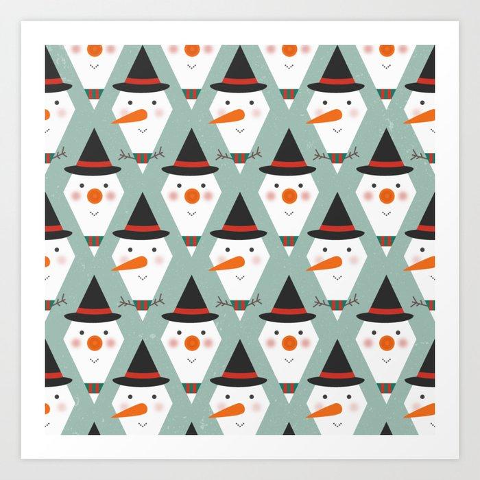 Snowmen Meltdown (Patterns Please) Art Print