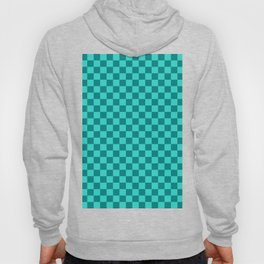Teal and Turquoise Checkerboard Hoody