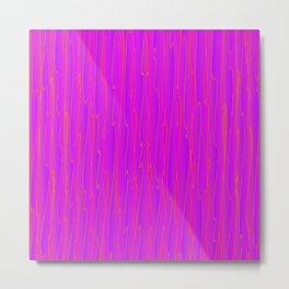 Vertical curved violet lines on a pink tree. Metal Print