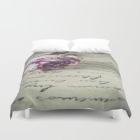 letter Duvet Covers featuring Love letter by Maria Heyens