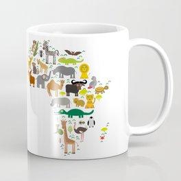 map of Africa: parrot Hyena Rhinoceros Zebra Hippopotamus Crocodile Turtle Elephant Mamba snake Coffee Mug