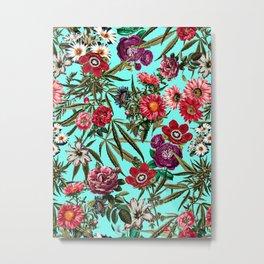 Marijuana and Floral Pattern II Metal Print