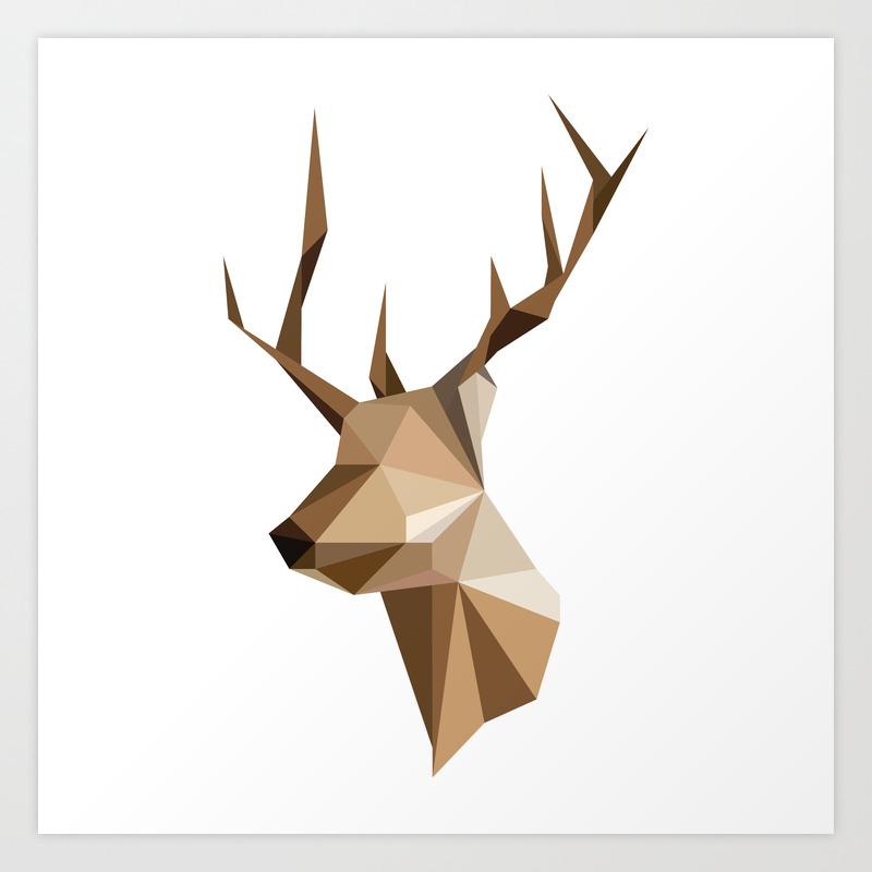 Geometric Reindeer Art Print By Somethingalittleawesome Society6
