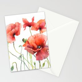 Spring Poppies Papaver Meadow Red Poppies White and Red Watercolor Stationery Cards