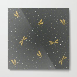 Gold Dragonfly Christmas seamless pattern and Gold Confetti on Dark Grey Background Metal Print