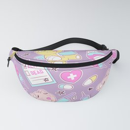 Yami Kawaii Creepy Cute Bears on Purple Fanny Pack