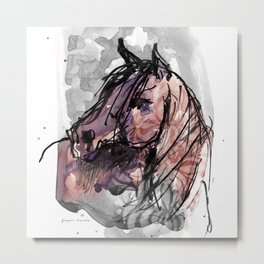 HORSE (ROUGE) Metal Print
