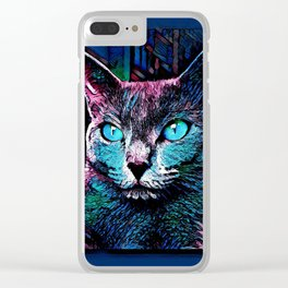 CAT COLORFUL Clear iPhone Case