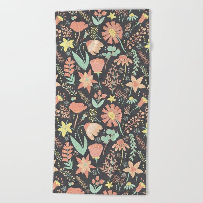 Peachy Keen Wildflowers Beach Towel