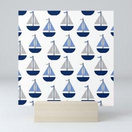 Nautical Sailboat Navy Blue Gray  Mini Art Print